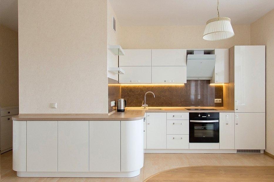 Белый кухонный гарнитур-Кухня МДФ в эмали «Модель 619»-фото1