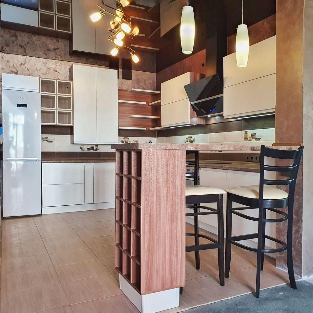 Белый кухонный гарнитур-Кухня МДФ в эмали «Модель 537»-фото4